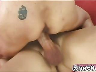 Blonde Lady Rides A Hard Young Dick!