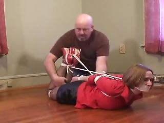 Girl With Red Blouse Hogtied And Gagged