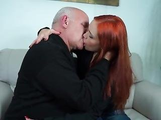 Young Brazilian Woman Deep Kissing Old Man