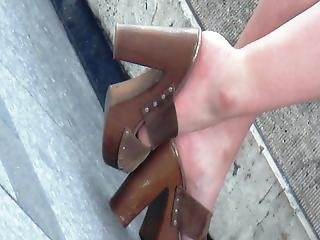 Candid Sexy Brunette In High Heels Mules
