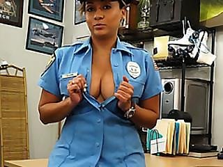 Lady Police Officer Hocks Her Gun Or Tries To Anyway