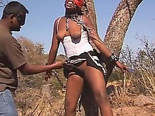 Masked Black Chick Gets Tied To Tree And Eroticd With Sex Toys