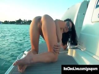 Freckled Face Cutie Its Cleo Pumps Her Wet Pussy On A Boat