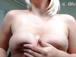 Pregnant Sexy Lady Fucks Own Juice Pussy