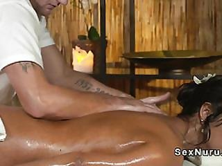 Tanned Beauty Got Massage And Sex