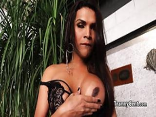 Latina Tranny Takes Big Black Dildo