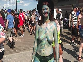 Topless By Coney Island Beach Ny The 2019 Mermaid Parade