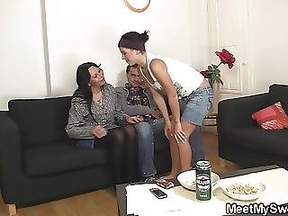 Old Couple With Teen Hot 3some