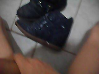 Cum in Beautiful  Blue Shoes