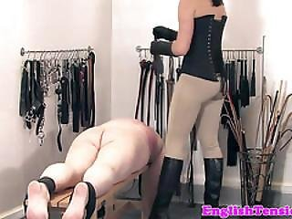 Rough Dominatix Smacking Weak Subs Butt With Toys