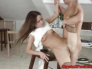 Classy Amateur Roughly Assfucked By Stepbro