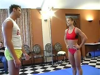 Bad Ass Ex-gymnast Girl Sara Whips Big Goofy Dudes Ass Part 1