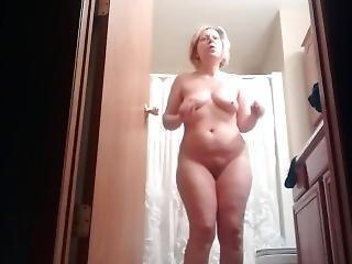 blonde, verborgen camera, milf, solo, onbewust, vrouw