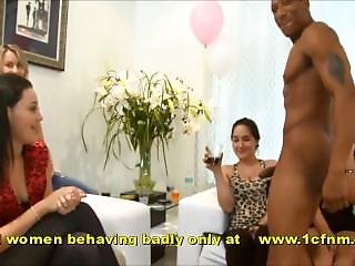 Dirty Wives & Girlfriends At Party Sucking Strippers Cock
