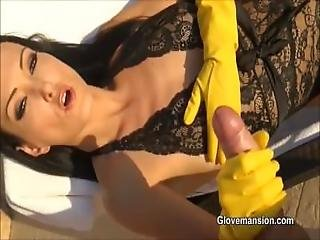 A Yellow Rubber Gloves Handjob For The Pool Boy