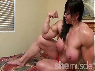 Naked Female Bodybuilder Topless Flexing