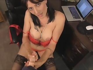 Mature Office Stocking Strip And Tease