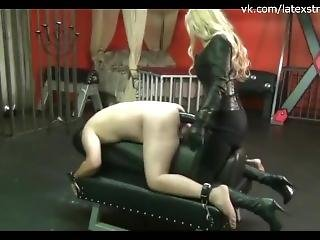 Blonde Monster Strapon Latex Leather Boots