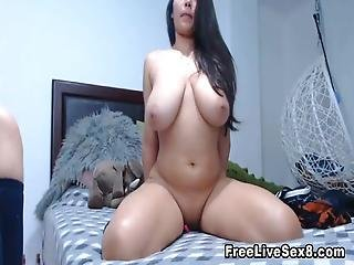 Busty Lesbian Babe Finger Fuck On Her Cunt