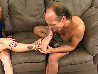 Hot Teen Give Old Dude Sensational Foot Job
