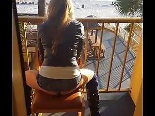 Dildo Riding On The Balcony