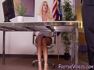 Busty Blondes Feet Cummed