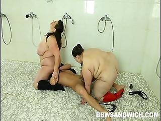 Guy Spying In The Public Shower Gets His Bbw Punishment