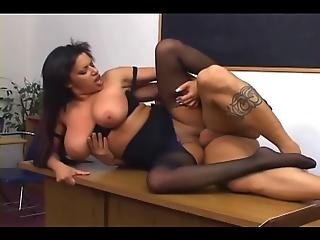 Big Boobed Babe In Ripped Up Crotchless Pantyhose