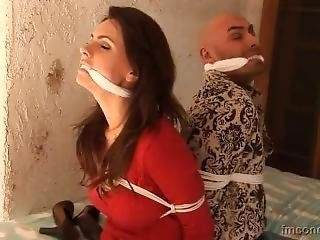 Woman And Man Tied And Cleave Gagged