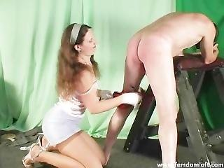 Balls And Cock Whipping By Sexy Mistress In Mini Skirt, Stockings And Heels