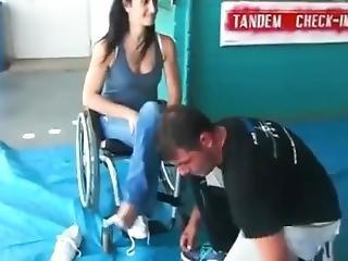 Paraplegic Woman Shaky Feet (nylons)