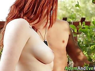 Spunky Redhead Tugs Dong