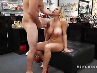 Huge Boobs Milf Bangs In Shoes Shop