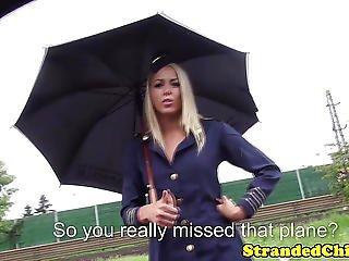 Stranded Hungarian Teen Stewardess In Uniform