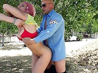 Arrested Tee Bangs Cop Outdoors