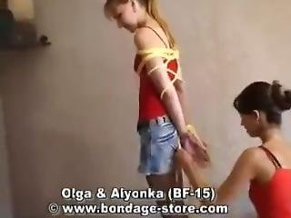Two Girls Tied Up In Shorts