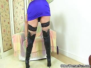 Blonde Gilf Christina X From The Uk Wears Long Leather Boots And Dildos Her Hungry Fanny Bonus Video: British Milf Alexa