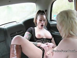 Blonde Gives A Flash In Female Fake Taxi