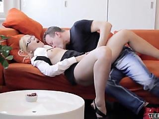 Nerdy Coed Sweet Cat Is Hungry For Cock