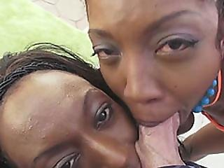 Cheerful Slim Black Teens In Bikini Hot Kisses Under The Sun