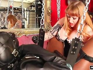 Sadistic Strap-on Pegging In Leather Sling