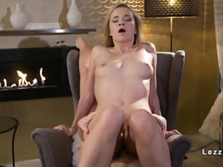 Blonde And Brunette Lesbians In Fire Place Room