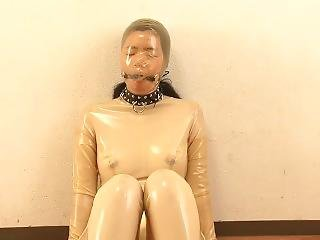 Asian Girl Latex Suit Breathplay