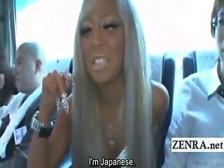 Subtitled Tan Japanese Gyaru Blowjob To Virgin On Bus