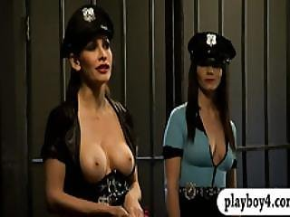 Busty Women Foursome In Jail Cell While The Wardens Watched