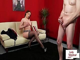 Bigtitted Milf Voyeur Instructing Tugging Guy