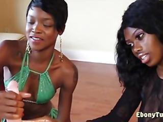 Cute Ebony Chicks Jerking White Dick