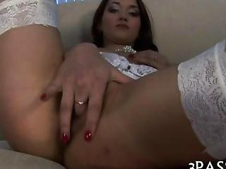 Cutie Bounds On A Big Cock And Fingers It