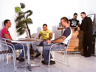 The Guys Hangout On The Set And Get Ready Before Their Orgy