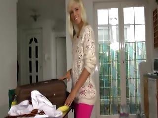 Blonde Teen Rubs Her Moist Pussy